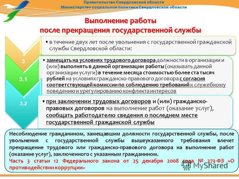 Правительство Свердловской области Министерство социальной политики Свердловской области Выполнение работы после прекращения государственной службы 3 в течение двух лет после увольнения с государственной гражданской службы Свердловской области: 3.1 з