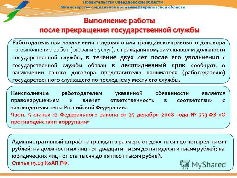 Правительство Свердловской области Министерство социальной политики Свердловской области Выполнение работы после прекращения государственной службы Неисполнение работодателем указанной обязанности является правонарушением и влечет ответственность в с