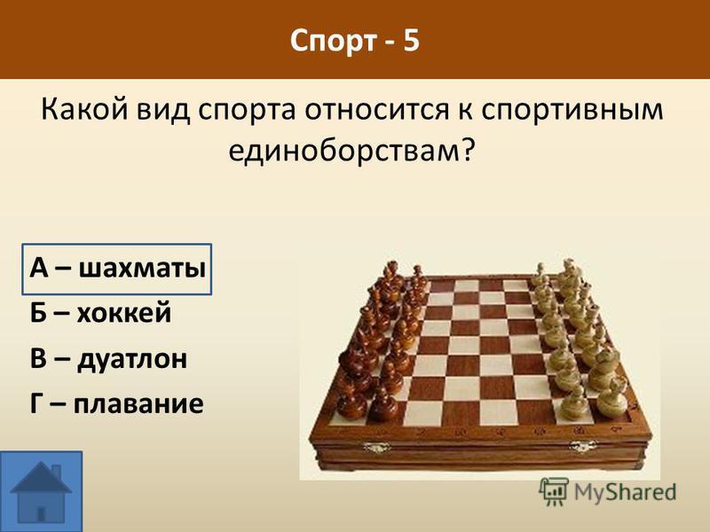 Спорт - 5 Какой вид спорта относится к спортивным единоборствам? А – шахматы Б – хоккей В – дуатлон Г – плавание