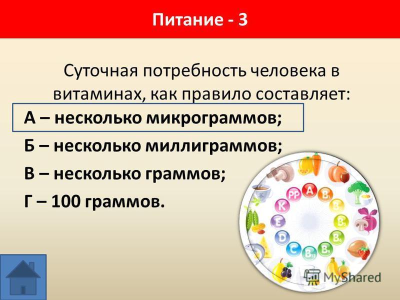 Суточная потребность человека в витаминах, как правило составляет: А – несколько микрограммов; Б – несколько миллиграммов; В – несколько граммов; Г – 100 граммов. Питание - 3