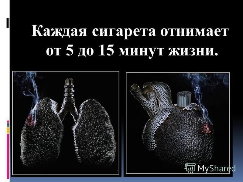 Каждая сигарета отнимает от 5 до 15 минут жизни.