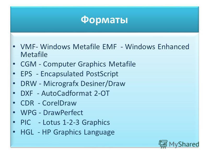 Форматы VMF- Windows Metafile EMF - Windows Enhanced Metafile CGM - Computer Graphics Metafile EPS - Encapsulated PostScript DRW - Micrografx Desiner/Draw DXF - AutoCadformat 2-OT CDR - CorelDraw WPG - DrawPerfect PIC - Lotus 1-2-3 Graphics HGL - HP