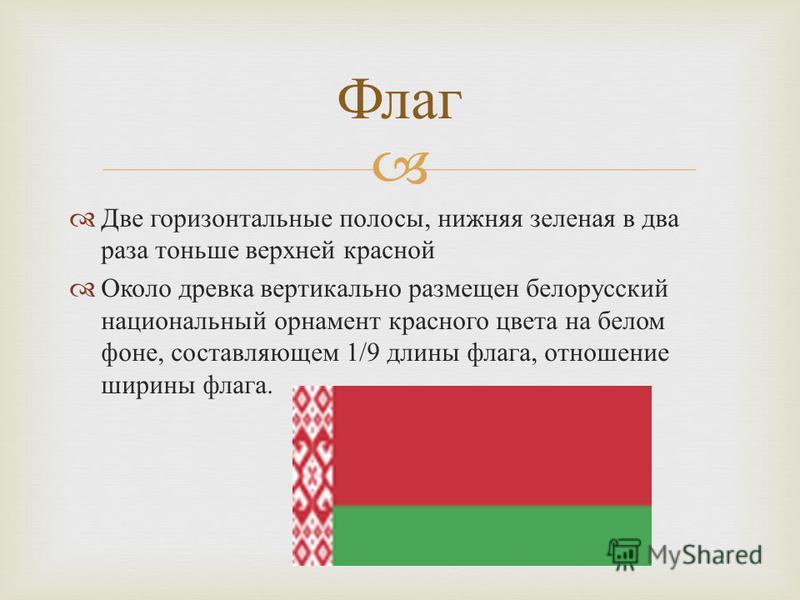 Две горизонтальные полосы, нижняя зеленая в два раза тоньше верхней красной Около древка вертикально размещен белорусский национальный орнамент красного цвета на белом фоне, составляющем 1/9 длины флага, отношение ширины флага. Флаг