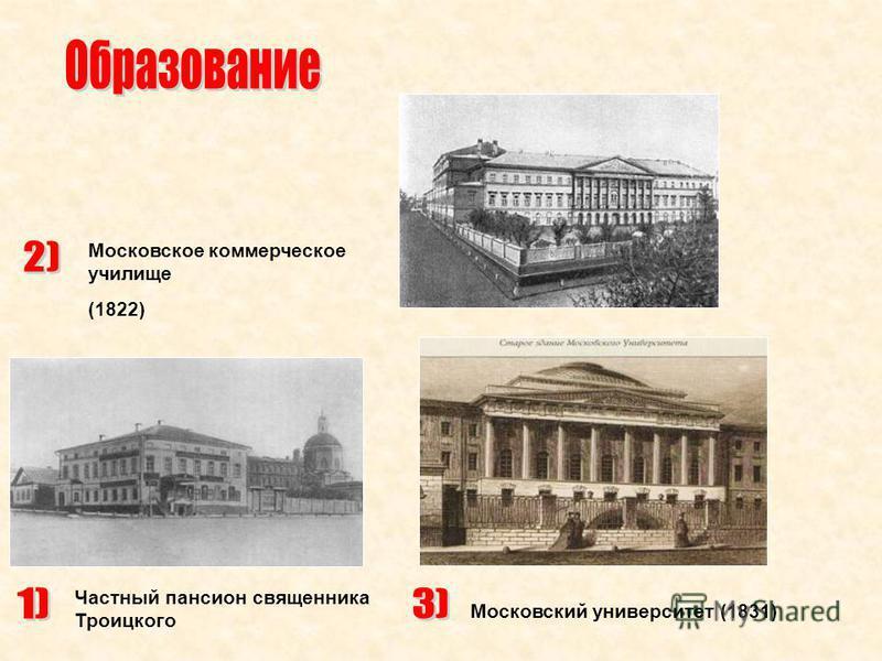 Частный пансион священника Троицкого Московское коммерческое училище (1822) Московский университет (1831)