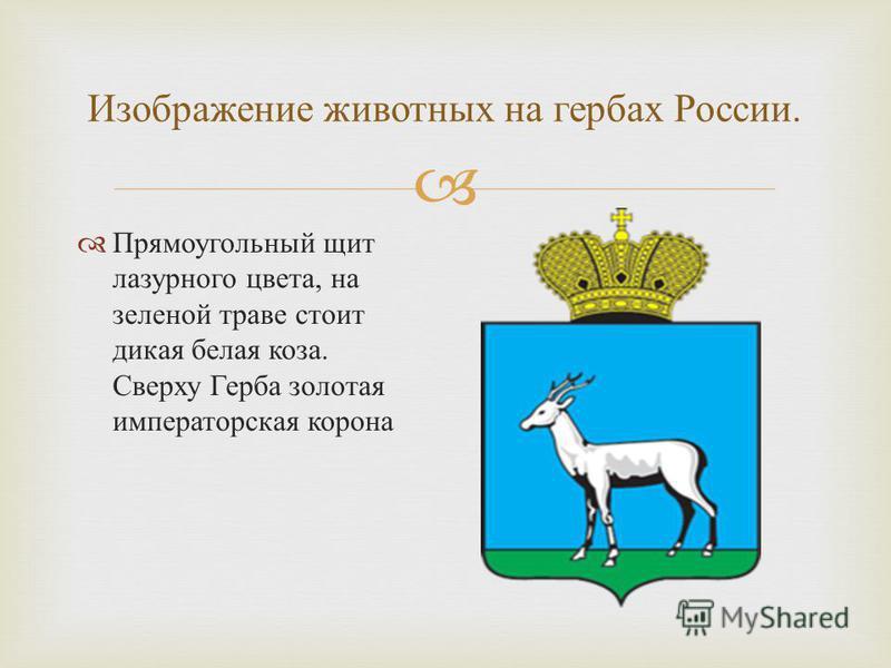 Изображение животных на гербах России. Прямоугольный щит лазурного цвета, на зеленой траве стоит дикая белая коза. Сверху Герба золотая императорская корона