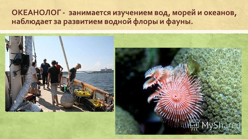 ОКЕАНОЛОГ - занимается изучением вод, морей и океанов, наблюдает за развитием водной флоры и фауны.