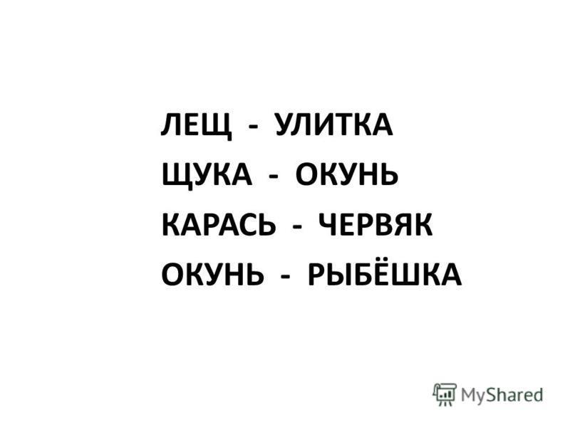 ЛЕЩ - УЛИТКА ЩУКА - ОКУНЬ КАРАСЬ - ЧЕРВЯК ОКУНЬ - РЫБЁШКА