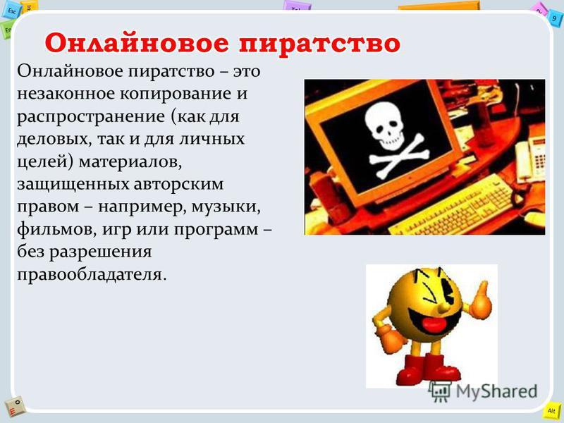 2 Tab 9 Alt Ins Esc End OЩOЩ Онлайновое пиратство – это незаконное копирование и распространение (как для деловых, так и для личных целей) материалов, защищенных авторским правом – например, музыки, фильмов, игр или программ – без разрешения правообл