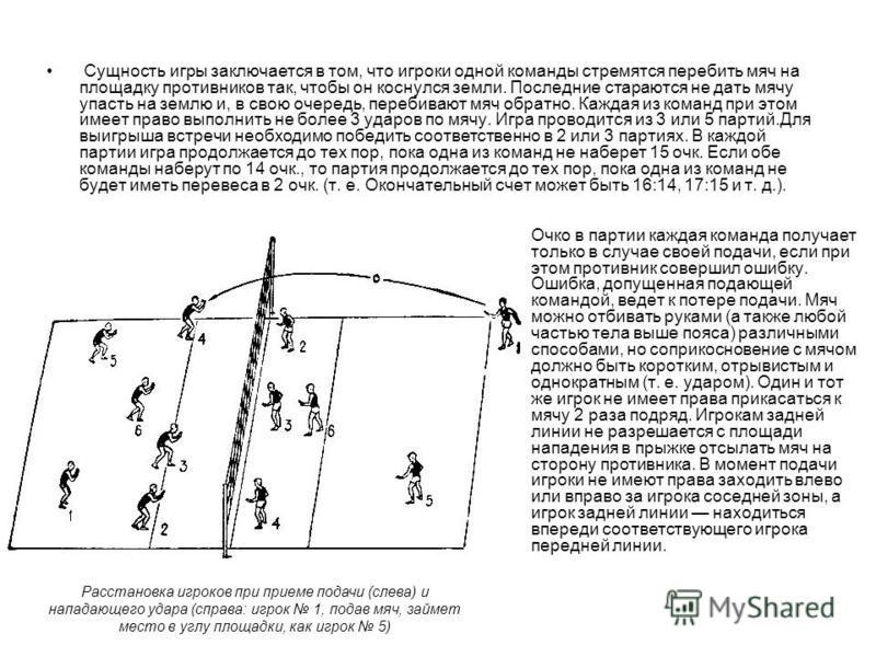 Сущность игры заключается в том, что игроки одной команды стремятся перебить мяч на площадку противников так, чтобы он коснулся земли. Последние стараются не дать мячу упасть на землю и, в свою очередь, перебивают мяч обратно. Каждая из команд при эт