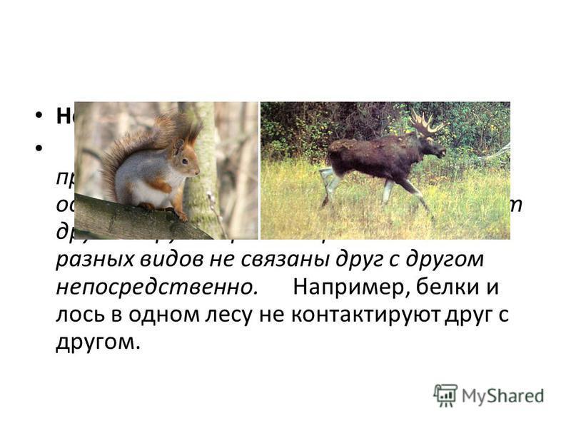 Нейтрализм Нейтрализм - тип биотической связи, при которой совместно обитающие на одной территории организмы не влияют друг на друга. При нейтрализме особи разных видов не связаны друг с другом непосредственно. Например, белки и лось в одном лесу не
