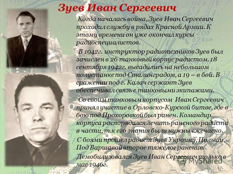 Забиров Павел Алексеевич В 1941 призвали Павла Забирова в ряды Красной Армии, на Тихоокеанский флот. Грянула война, моряков сняли с кораблей, сформировали из них воинские соединения – и на фронт. С сентября 1942 года воевал под Сталинградом морской д