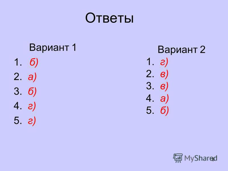 Ответы Вариант 1 1. б) 2. а) 3. б) 4. г) 5. г) 8 Вариант 2 1. г) 2. в) 3. в) 4. а) 5. б)