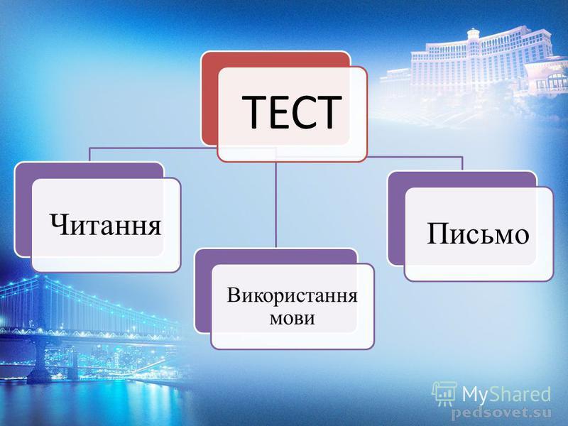 ТЕСТ Читання Використання мови Письмо