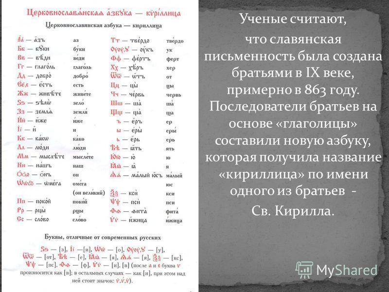 Ученые считают, что славянская письменность была создана братьями в IX веке, примерно в 863 году. Последователи братьев на основе «глаголицы» составили новую азбуку, которая получила название «кириллица» по имени одного из братьев - Св. Кирилла.