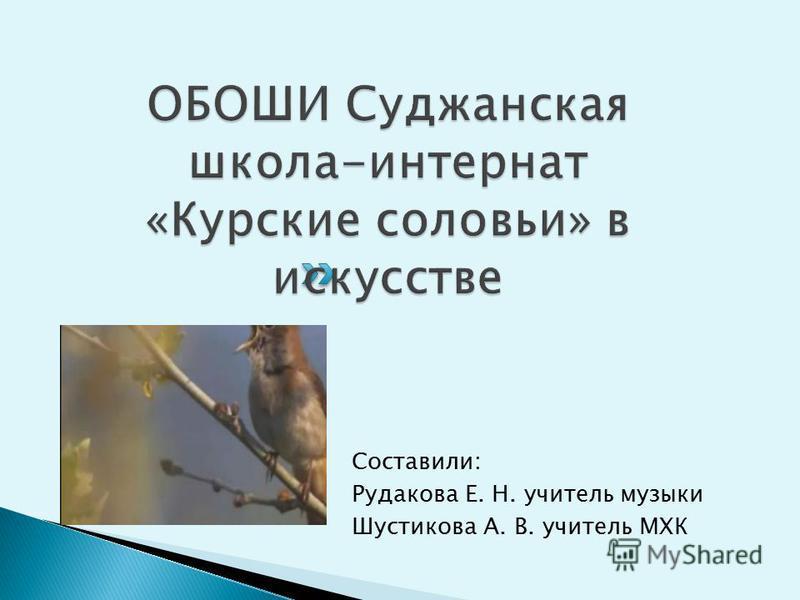 Составили: Рудакова Е. Н. учитель музыки Шустикова А. В. учитель МХК