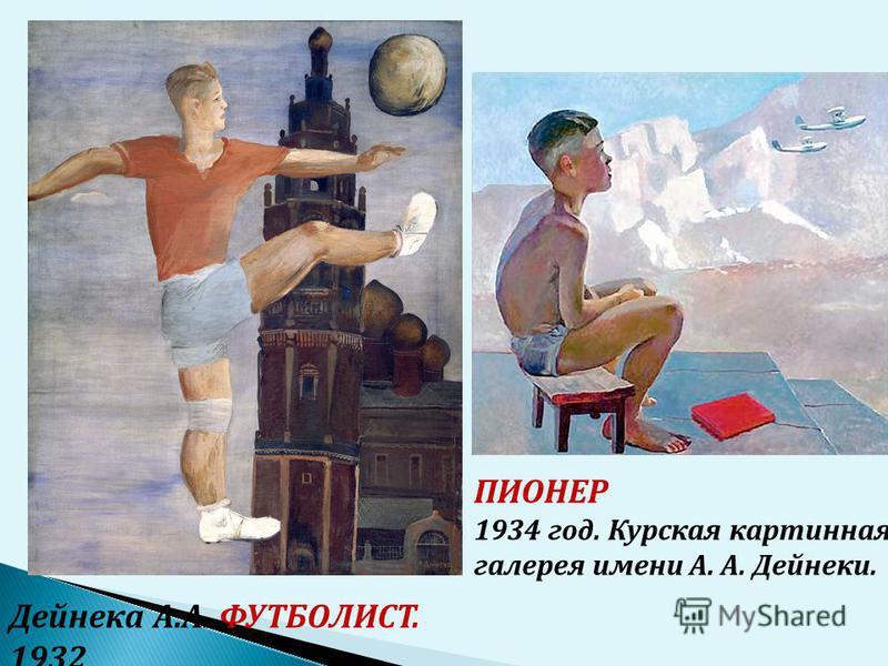ПИОНЕР 1934 год. Курская картинная галерея имени А. А. Дейнеки. Дейнека А.А. ФУТБОЛИСТ. 1932