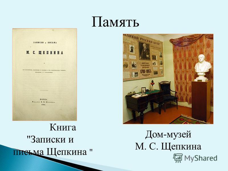 Память Дом-музей М. С. Щепкина Книга Записки и письма Щепкина