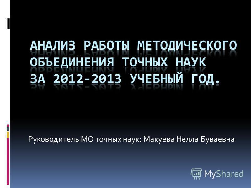 Руководитель МО точных наук: Макуева Нелла Буваевна