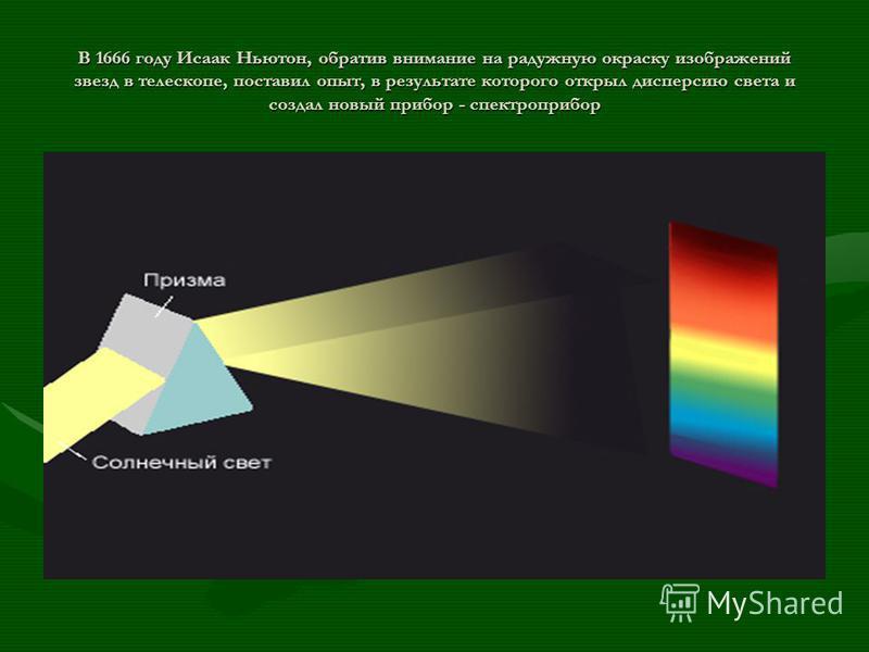 В 1666 году Исаак Ньютон, обратив внимание на радужную окраску изображений звезд в телескопе, поставил опыт, в результате которого открыл дисперсию света и создал новый прибор - спектр прибор