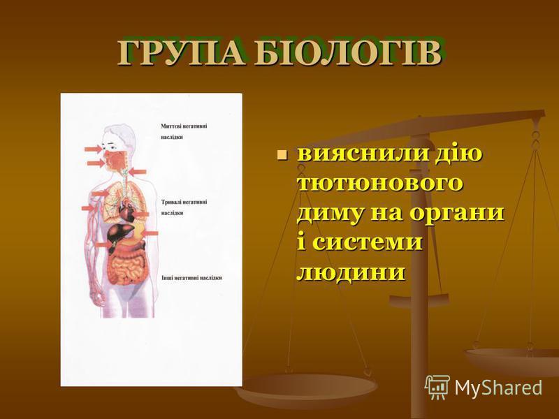 ГРУПА БІОЛОГІВ вияснили дію тютюнового диму на органи і системи людини вияснили дію тютюнового диму на органи і системи людини