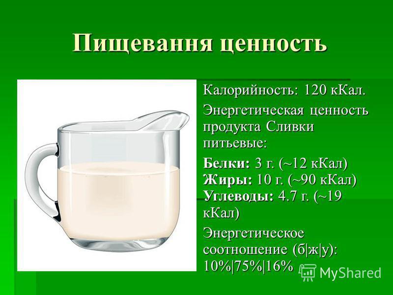 Пищевання ценность Калорийность: 120 к Кал. Калорийность: 120 к Кал. Энергетическая ценность продукта Сливки питьевые: Энергетическая ценность продукта Сливки питьевые: Белки: 3 г. (~12 к Кал) Жиры: 10 г. (~90 к Кал) Углеводы: 4.7 г. (~19 к Кал) Белк