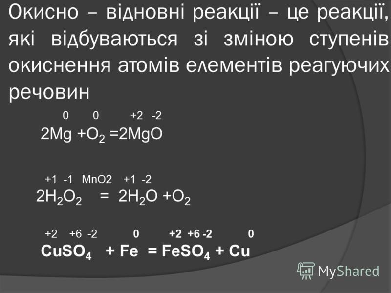 Окисно – відновні реакції – це реакції, які відбуваються зі зміною ступенів окиснення атомів елементів реагуючих речовин 0 0 +2 -2 2Mg +O 2 =2MgO +1 -1 MnO2 +1 -2 2H 2 O 2 = 2H 2 O +O 2 +2 +6 -2 0 +2 +6 -2 0 CuSO 4 + Fe = FeSO 4 + Cu