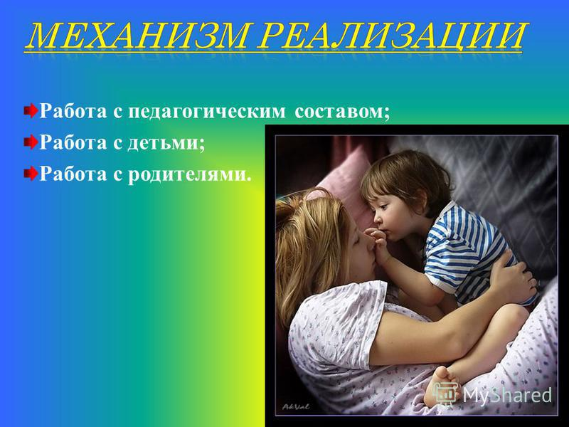 Работа с педагогическим составом; Работа с детьми; Работа с родителями.