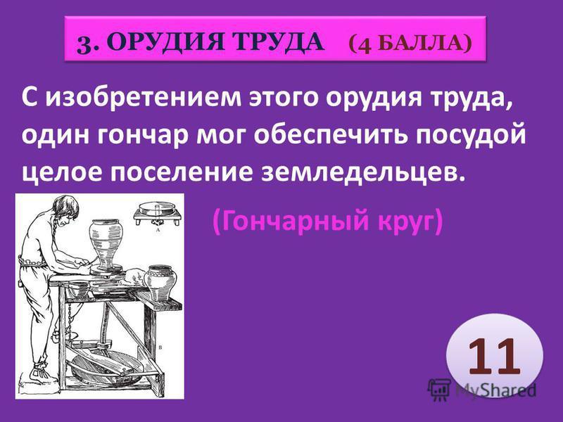 3. ОРУДИЯ ТРУДА (4 БАЛЛА) 15 11 6 6 9 9 8 8