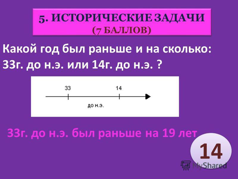 Какой год был раньше и на сколько был раньше: 33 г. до н.э. или 33 г. н.э.? 5. ИСТОРИЧЕСКИЕ ЗАДАЧИ (7 БАЛЛОВ) 5. ИСТОРИЧЕСКИЕ ЗАДАЧИ (7 БАЛЛОВ) 33 г до н.э. был раньше на 66 лет 18