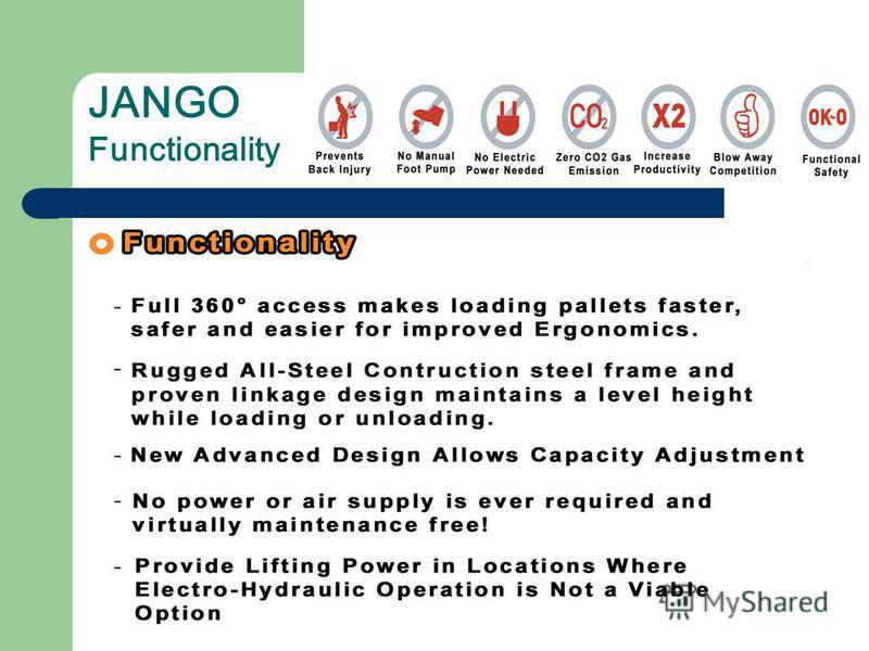 JANGO Functionality