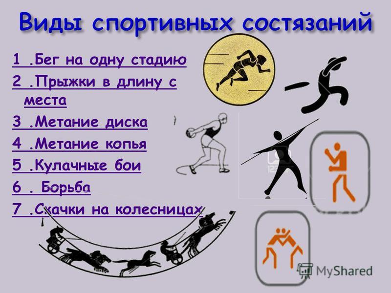 1. Бег на одну стадию 2. Прыжки в длину с места 3. Метание диска 4. Метание копья 5. Кулачные бои 6. Борьба 7. Скачки на колесницах