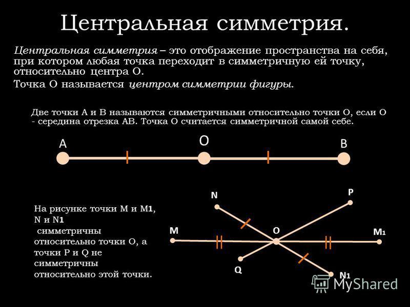 АВ О Центральная симметрия. Центральная симметрия – это отображение пространства на себя, при котором любая точка переходит в симметричную ей точку, относительно центра О. Точка О называется центром симметрии фигуры. Две точки А и В называются симмет