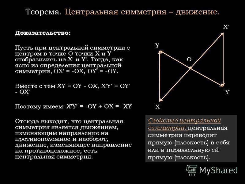 Теорема. Центральная симметрия – движение. Доказательство: Пусть при центральной симметрии с центром в точке О точки X и Y отобразились на X' и Y'. Тогда, как ясно из определения центральной симметрии, OX' = -OX, OY' = -OY. Вместе с тем XY = OY - OX,