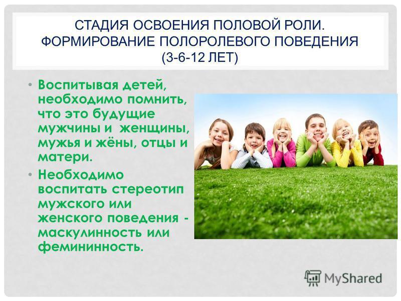 СТАДИЯ ОСВОЕНИЯ ПОЛОВОЙ РОЛИ. ФОРМИРОВАНИЕ ПОЛОРОЛЕВОГО ПОВЕДЕНИЯ (3-6-12 ЛЕТ) Воспитывая детей, необходимо помнить, что это будущие мужчины и женщины, мужья и жёны, отцы и матери. Необходимо воспитать стереотип мужского или женского поведения - маск