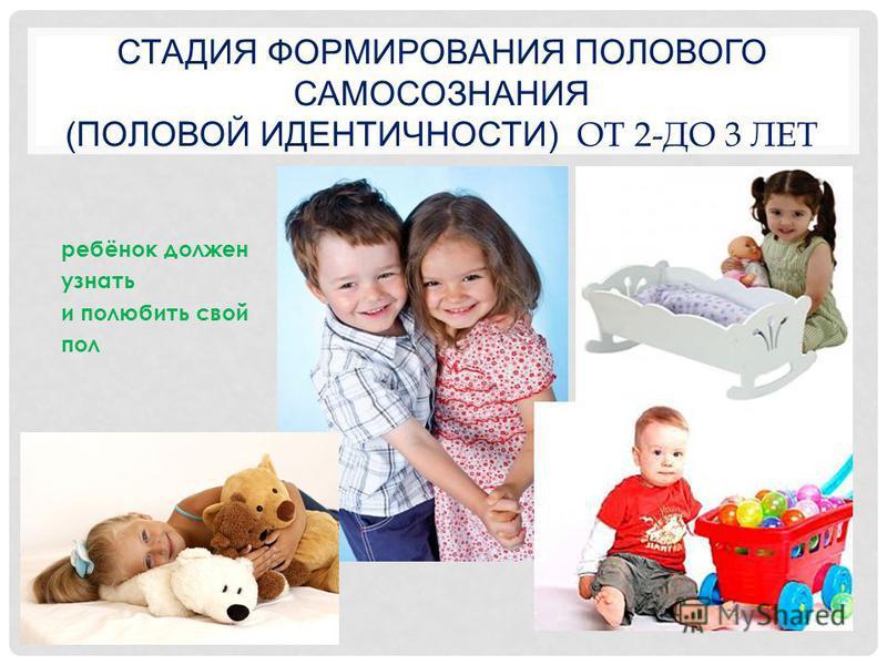 СТАДИЯ ФОРМИРОВАНИЯ ПОЛОВОГО САМОСОЗНАНИЯ (ПОЛОВОЙ ИДЕНТИЧНОСТИ) ОТ 2-ДО 3 ЛЕТ ребёнок должен узнать и полюбить свой пол