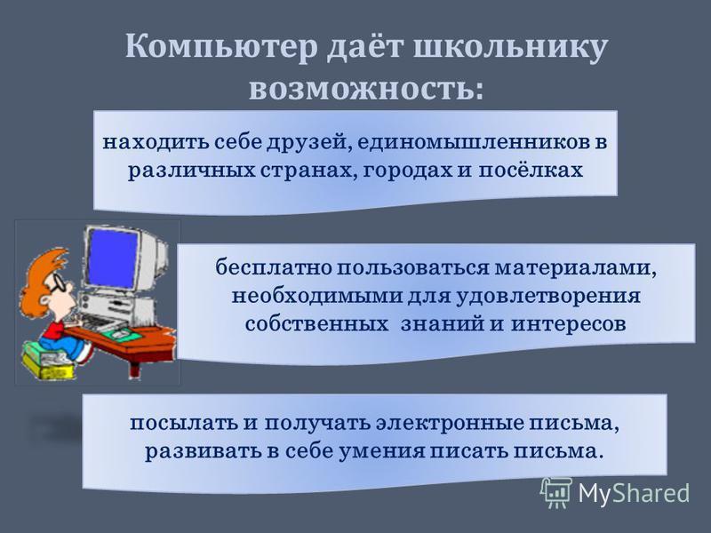 Компьютер даёт школьнику возможность: находить себе друзей, единомышленников в различных странах, городах и посёлках бесплатно пользоваться материалами, необходимыми для удовлетворения собственных знаний и интересов посылать и получать электронные пи