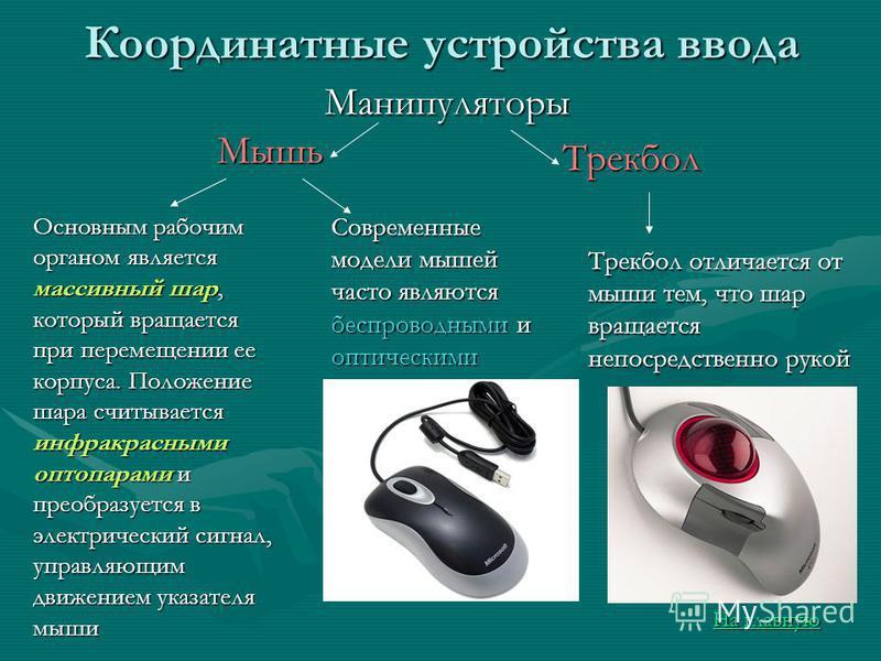 Мышь Координатные устройства ввода Основным рабочим органом является массивный шар, который вращается при перемещении ее корпуса. Положение шара считывается инфракрасными оптопарами и преобразуется в электрический сигнал, управляющим движением указат