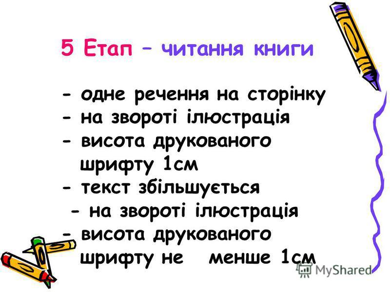 5 Етап – читання книги - одне речення на сторінку - на звороті ілюстрація - висота друкованого шрифту 1см - текст збільшується - на звороті ілюстрація - висота друкованого шрифту не менше 1см