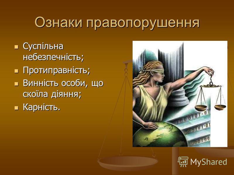 Ознаки правопорушення Суспільна небезпечність; Суспільна небезпечність; Протиправність; Протиправність; Винність особи, що скоїла діяння; Винність особи, що скоїла діяння; Карність. Карність.