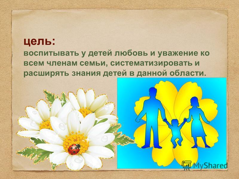 цель: воспитывать у детей любовь и уважение ко всем членам семьи, систематизировать и расширять знания детей в данной области.