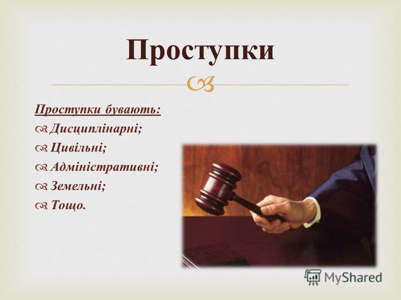 Проступки бувають : Дисциплінарні ; Цивільні ; Адміністративні ; Земельні ; Тощо. Проступки