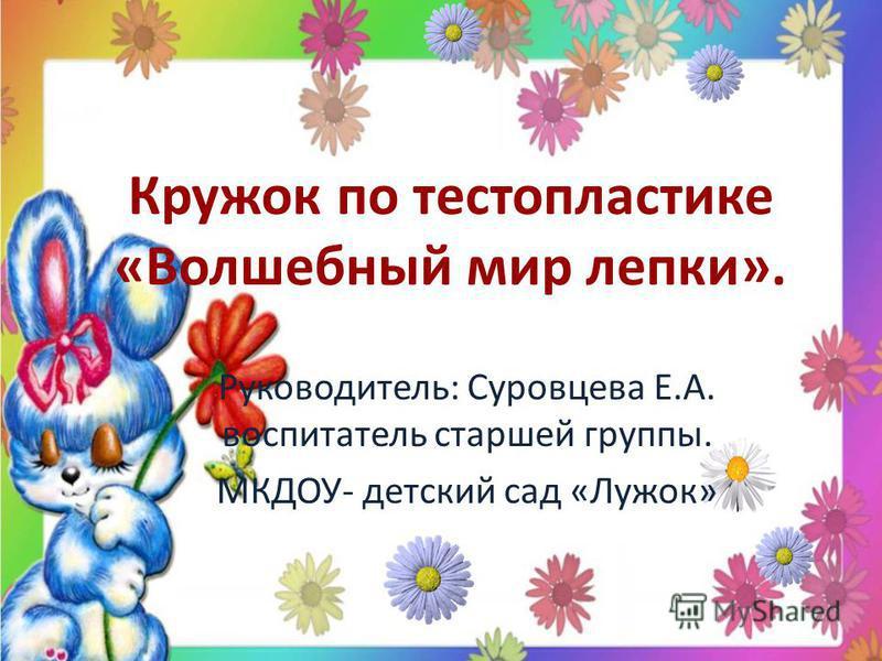 Кружок по тестопластике «Волшебный мир лепки». Руководитель: Суровцева Е.А. воспитатель старшей группы. МКДОУ- детский сад «Лужок»