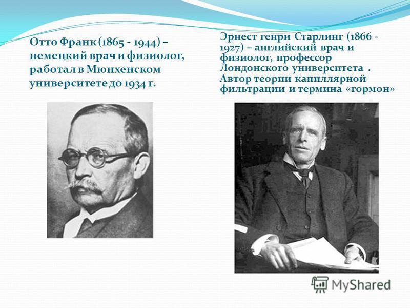 Отто Франк (1865 - 1944) – немецкий врач и физиолог, работал в Мюнхенском университете до 1934 г. Эрнест генри Старлинг (1866 - 1927) – английский врач и физиолог, профессор Лондонского университета. Автор теории капиллярной фильтрации и термина «гор