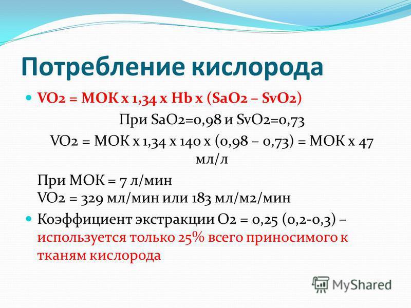 Потребление кислорода VO2 = МОК х 1,34 x Hb x (SaO2 – SvO2) При SaO2=0,98 и SvO2=0,73 VO2 = МОК х 1,34 x 140 x (0,98 – 0,73) = МОК х 47 мл/л При МОК = 7 л/мин VO2 = 329 мл/мин или 183 мл/м 2/мин Коэффициент экстракции О2 = 0,25 (0,2-0,3) – использует