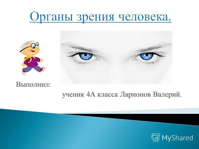 Выполнил: ученик 4А класса Ларионов Валерий.