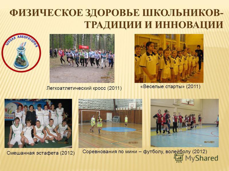 ФИЗИЧЕСКОЕ ЗДОРОВЬЕ ШКОЛЬНИКОВ- ТРАДИЦИИ И ИННОВАЦИИ Легкоатлетический кросс (2011) «Веселые старты» (2011) Соревнования по мини – футболу, волейболу (2012) Смешанная эстафета (2012)