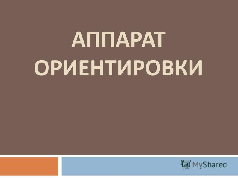 АППАРАТ ОРИЕНТИРОВКИ