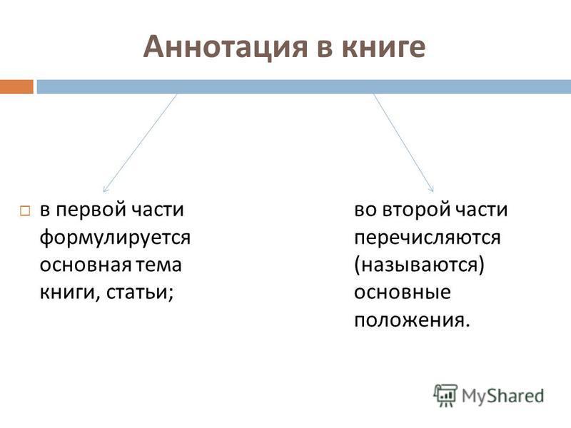 Аннотация в книге в первой части формулируется основная тема книги, статьи ; во второй части перечисляются (называются) основные положения.