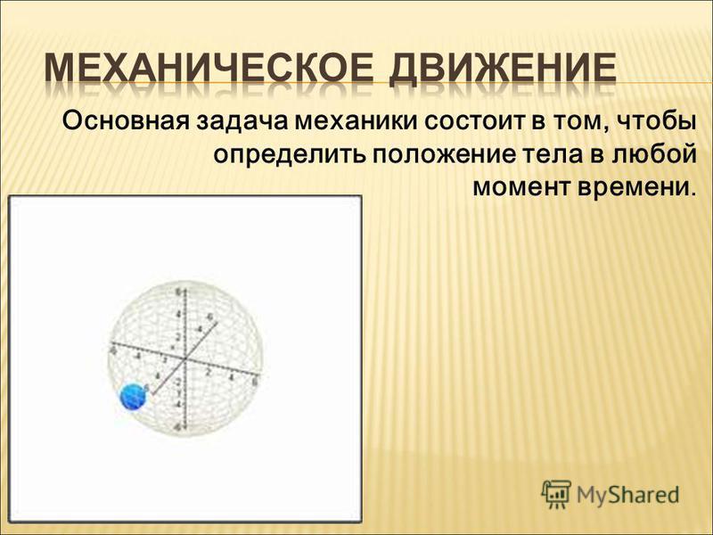 Основная задача механики состоит в том, чтобы определить положение тела в любой момент времени.