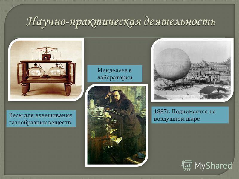 Весы для взвешивания газообразных веществ 1887 г. Поднимается на воздушном шаре Менделеев в лаборатории